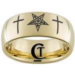 9mm Gold Dome Tungsten Carbide Eastern Star Crosses Design