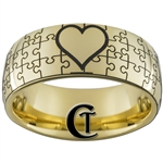 9mm Gold Dome Tungsten Carbide Puzzle Heart Design
