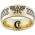 9mm Gold Dome Tungsten Carbide Zelda Skyward Sword Triforce Design