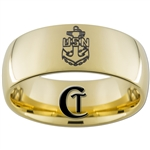 9mm 14kt Gold Plated Dome Tungsten Carbide Navy Anchor Design Ring.