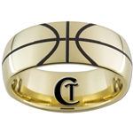 9mm Dome Gold Tungsten Carbide Basketball Design