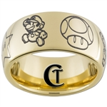 9mm Gold Dome Tungsten Carbide Mario Design