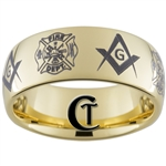9mm Gold Dome Tungsten Carbide Masonic Fireman Design