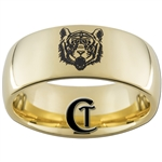 9mm Gold Dome Tungsten Carbide Tiger Design