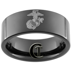 9mm Black Pipe Tungsten Carbide Marines Laser Design