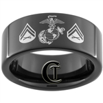 9mm Black Pipe Tungsten Carbide Marines Corporal Design Ring.