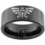9mm Black Pipe Tungsten Carbide Legend Of Zelda Design