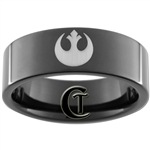 9mm Black Pipe Tungsten Carbide Star Wars Rebel Alliance Design