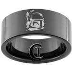 9mm Black Pipe Tungsten Carbide Star Wars Boba Fett Design