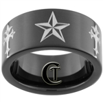 9mm Black Pipe Tungsten Carbide Nautical Star and Cross Design