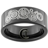 9mm Black Pipe Tungsten Carbide Doctor Who Design