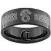 9mm Black Pipe Tungsten Carbide Shadow Run Dragon Celtic Design Ring.