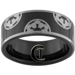 9mm Black Pipe Tungsten Carbide Star Wars Galactic Empire Design