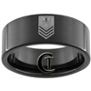 9mm Black Pipe Tungsten Carbide Navy Petty Officer First Class Rank Design.
