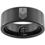 9mm Black Pipe Tungsten Carbide Navy Petty Officer First Class Rank Design Ring.