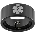 9mm Black Pipe Tungsten Carbide EMT Star of Life Design