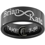 9mm Black Pipe Tungsten Carbide Infinity Symbol Names Design Ring