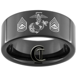 9mm Black Pipe Tungsten Carbide Marines Eagle Globe and Anchor & Gunnery Sergeant Design Ring.