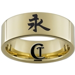 9mm Gold Pipe Tungsten Carbide Kanji Ring Design