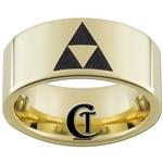 9mm Gold Pipe Tungsten Carbide Zelda Triforce Design