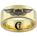 9mm 14kt Gold Plated Pipe Tungsten Carbide U.S. Air Force Pilot Wings Design Ring.