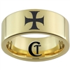 9mm Gold Pipe Tungsten Carbide Maltese Cross Design