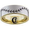 9mm Gold Pipe Tungsten Carbide Satin Finish Baseball Stich Ring Design