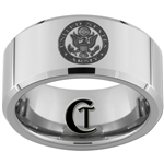 10mm Beveled Tungsten Carbide Army Crest Design Ring.