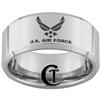 10mm Beveled Tungsten Carbide Air Force Logo Design.