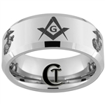 10mm Beveled Tungsten Carbide Marines Eagle Globe & Anchor and Master Mason Square and Compass Design.