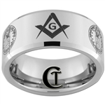 10mm Beveled Tungsten Carbide Masonic Square and Compass & Air Force Seal Design.