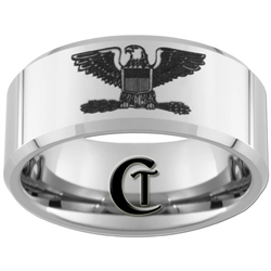 10mm Beveled Tungsten Carbide Military Colonel Eagle Design