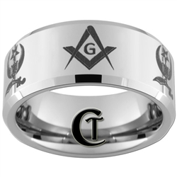 10mm Beveled Tungsten Carbide Masonic Shriners Design