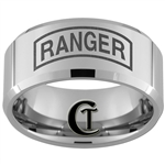 10mm Beveled Tungsten Carbide ARMY Ranger Design Ring.