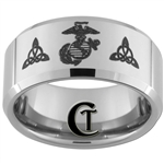 10mm Beveled Tungsten Carbide Marines Eagle Globe & Anchor and Celtic Knots Design.
