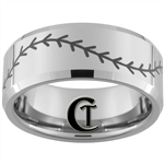 10mm Beveled Tungsten Carbide Baseball Stitch Design