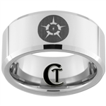 10mm Beveled Tungsten Carbide Jedi Religion Design