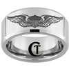 10mm Beveled Tungsten Carbide U.S. Air Force Pilot Wings Design Ring.