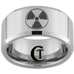 10mm Beveled Tungsten Carbide Zelda Wolf Design