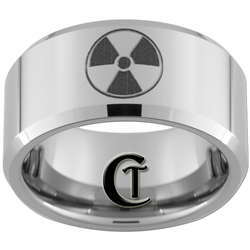 10mm Beveled Tungsten Carbide Bio-hazard Nuclear Zelda Triforce and Wolf Design.