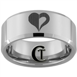10mm Beveled Tungsten Carbide Custom Heart Design