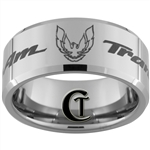 10mm Beveled Tungsten Carbide Trans Am Design Ring.