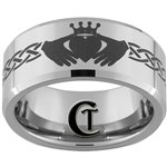 10mm Beveled Tungsten Carbide Claddagh Design