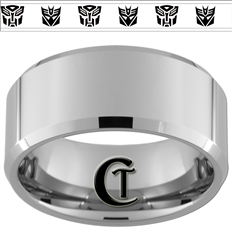 10mm Beveled Tungsten Autobot Decepticon Designed Ring.