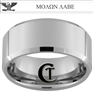 10mm Beveled Tungsten Carbide Military Colonel Eagle Molon Labe Design Ring.
