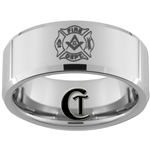 10mm Beveled Tungsten Carbide Masonic Fire Department Design