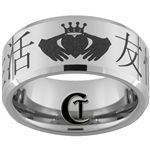 10mm Beveled Tungsten Carbide Kanji Claddagh Design Ring.