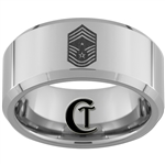 10mm Beveled Tungsten Carbide Air Force Command Chief Master Sergeant Design.