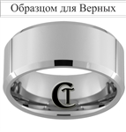 10mm Beveled Tungsten Carbide Custom Religious Russian Text For The Faithful Design Ring.