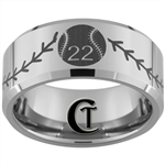 10mm Beveled Tungsten Carbide Custom Baseball Number With Baseball Stitch Design